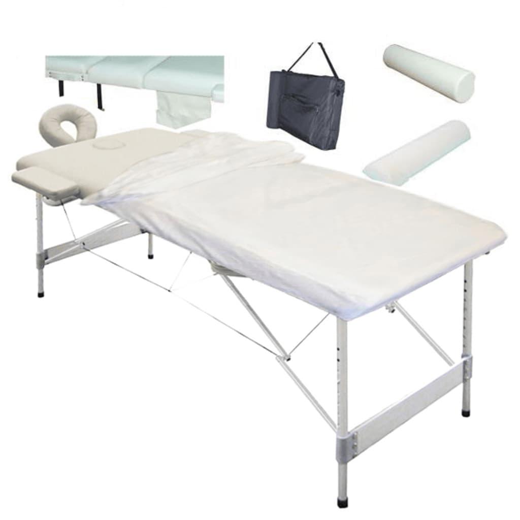 Masă pentru masaj 2 zone aluminiu alb-crem + set accesorii vidaxl.ro