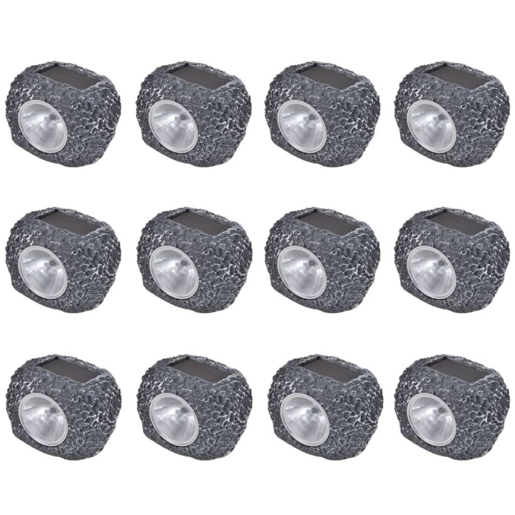 Reflector solar LED în formă de piatră 12 buc poza vidaxl.ro