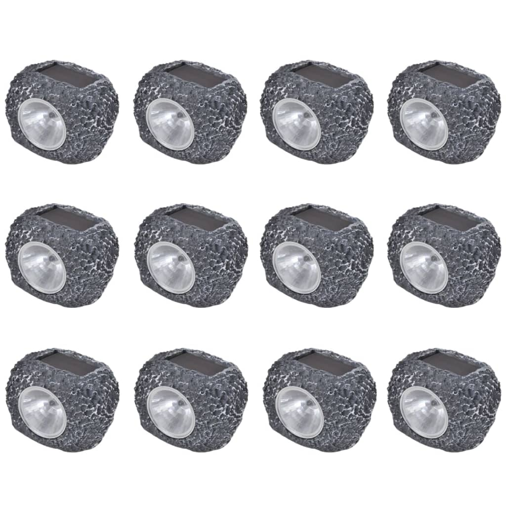 vidaXL Ηλιακό Φωτιστικό LED Σποτ Σχήμα Πέτρας 12 τμχ
