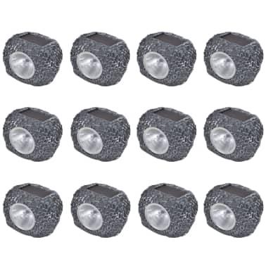 vidaXL Faretto Solare Esterno con LED Forma Pietra 12 pz[1/3]