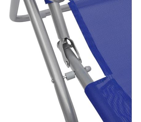 vidaXL Chaises longues 2 pcs Cadre en acier et textilène Bleu[5/9]
