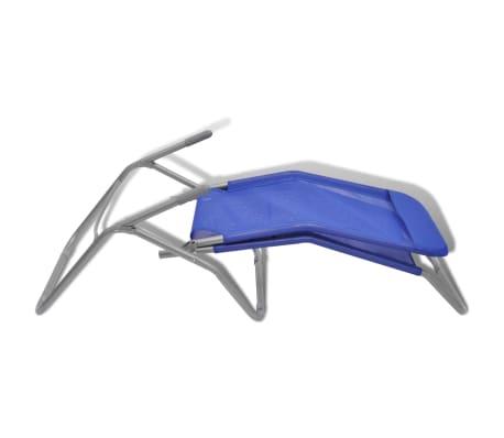 vidaXL Chaises longues 2 pcs Cadre en acier et textilène Bleu[6/9]