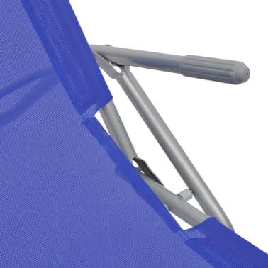 vidaXL Chaises longues 2 pcs Cadre en acier et textilène Bleu[4/9]
