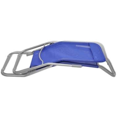 vidaXL Chaises longues 2 pcs Cadre en acier et textilène Bleu[7/9]