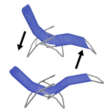 vidaXL Chaises longues 2 pcs Cadre en acier et textilène Bleu[8/9]