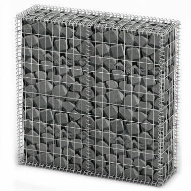 "vidaXL Gabion Basket with Lids Galvanized Wire 39.4""x39.4""x11.8""[1/5]"