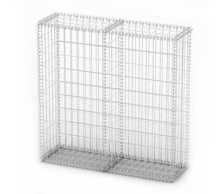 "vidaXL Gabion Basket with Lids Galvanized Wire 39.4""x39.4""x11.8""[2/5]"