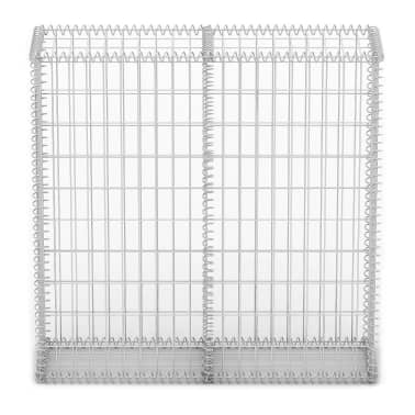 "vidaXL Gabion Basket with Lids Galvanized Wire 39.4""x39.4""x11.8""[3/5]"