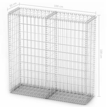 "vidaXL Gabion Basket with Lids Galvanized Wire 39.4""x39.4""x11.8""[5/5]"