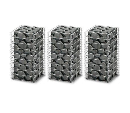 "vidaXL Gabion Set 3 pcs Galvanised Wire 9.8"" x 9.8"" x 19.7"""