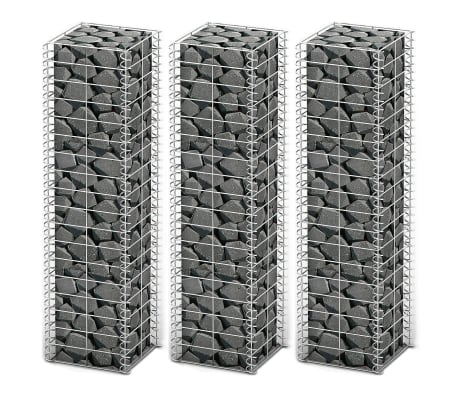 "vidaXL Gabion Set 3 pcs Galvanized Wire 9.8""x9.8""x39.4""[1/4]"