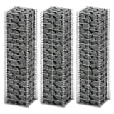 "vidaXL Gabion Set 3 pcs Galvanized Wire 9.8""x9.8""x39.4"""