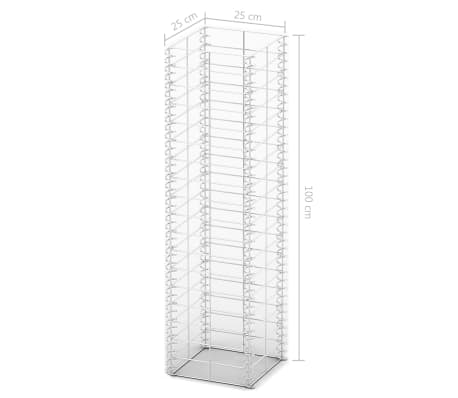 vidaXL Gabion Set 3 pcs Galvanised Wire 25 x 25 x 100 cm[4/4]