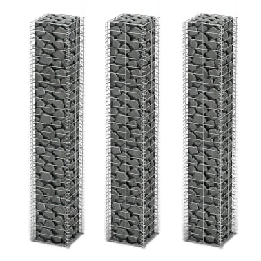 "vidaXL Gabion Set 3 pcs Galvanized Wire 9.8""x9.8""x59""[1/4]"