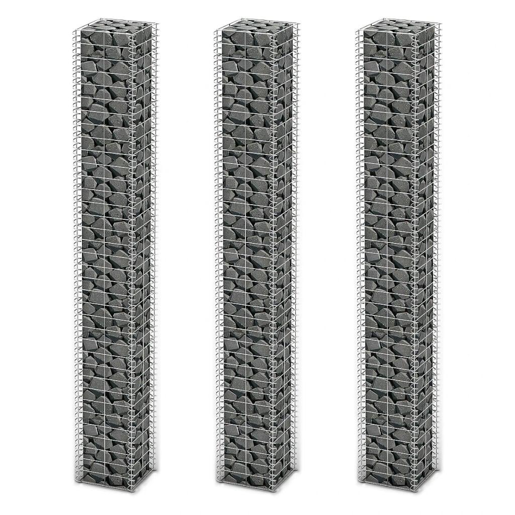 vidaXL Set gabioane 3 buc, sârmă galvanizată, 25 x 25 x 197 cm poza vidaxl.ro