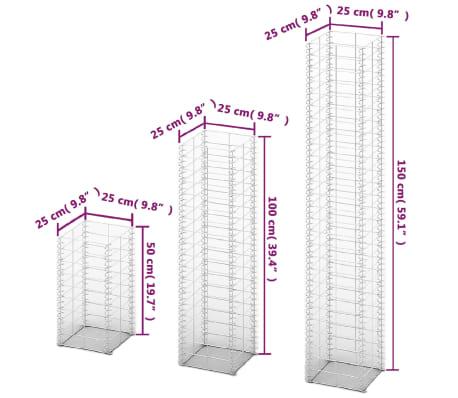 vidaXL 3 Piece Gabion Set Galvanised Wire[4/4]