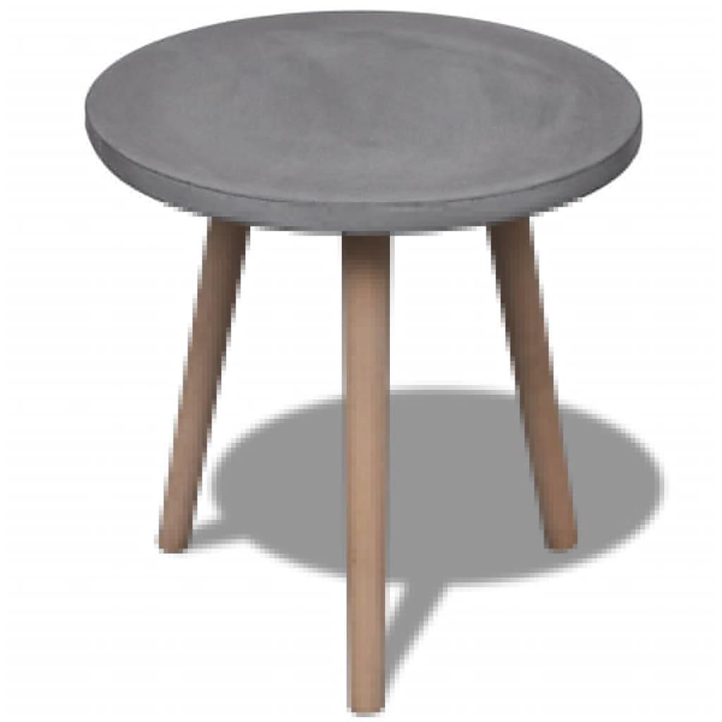 Malý kulatý stolek z betonu, dubové nohy