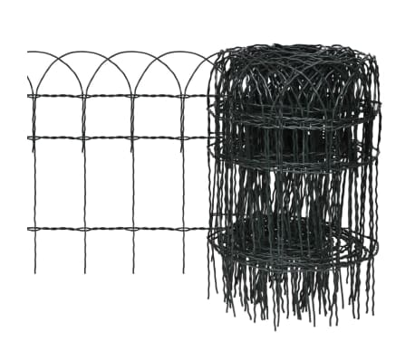 vidaXL Garden Border Fence Powder-coated Iron 10x0.4 m