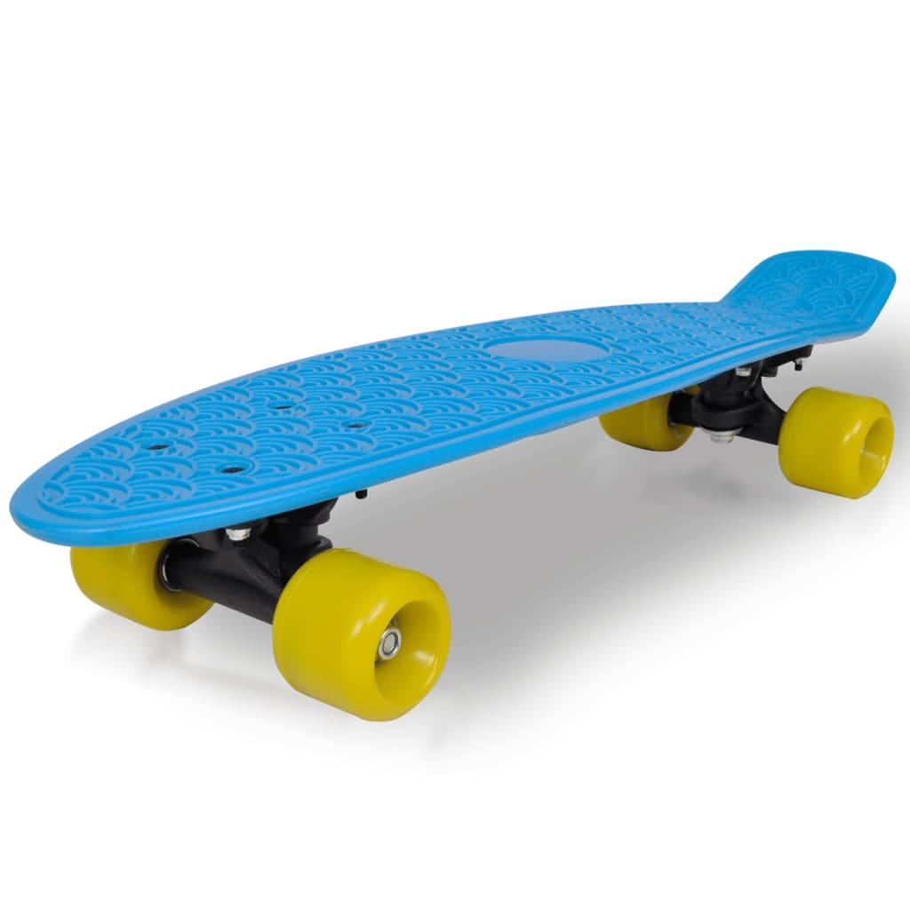 Retro skateboard s modrou deskou a žlutými kolečky