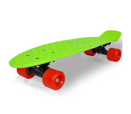 "vidaXL Retro pennyboard met groene bovenkant en rode wielen 6,1""[1/5]"