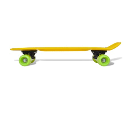 "Retro Skateboard with Yellow Top Green Wheels 6.1""[4/5]"
