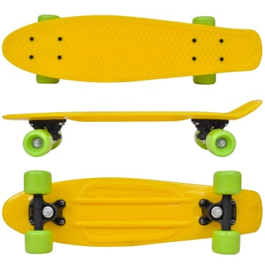 "Retro Skateboard with Yellow Top Green Wheels 6.1""[2/5]"