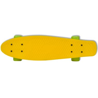 "Retro Skateboard with Yellow Top Green Wheels 6.1""[3/5]"