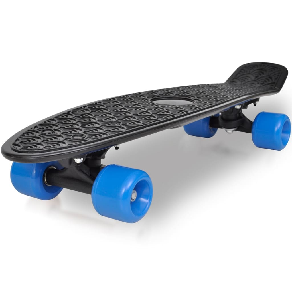 Retro skateboard s černou deskou a modrými kolečky