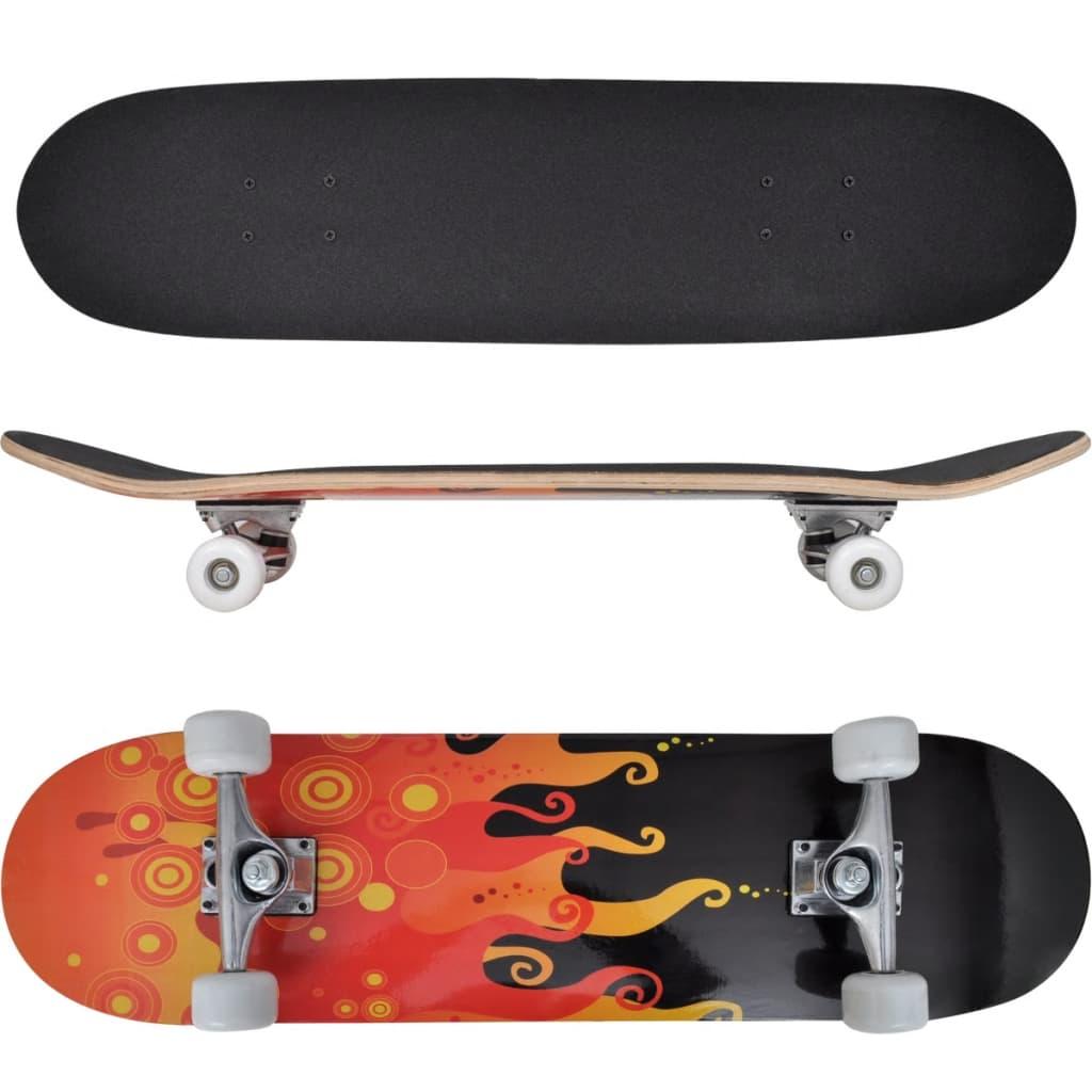 Ovaal skateboard met vuur design 9-laags esdoorn hout 8