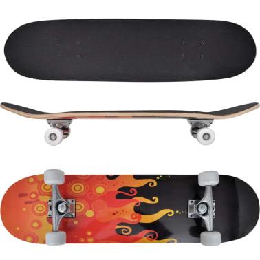 """vidaXL Oval Shape Skateboard 9 Ply Maple Fire Design 8""""[1/7]"""
