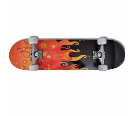 """vidaXL Oval Shape Skateboard 9 Ply Maple Fire Design 8""""[6/7]"""
