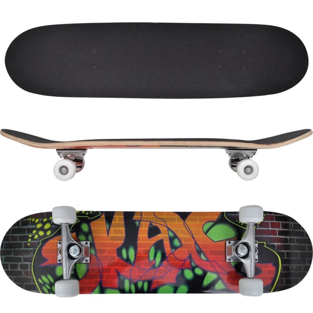 Ovaal skateboard met graffiti design 9-laags esdoorn hout 8