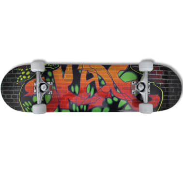 "vidaXL Oval Shape Skateboard 9 Ply Maple Graffiti Design 8""[6/7]"