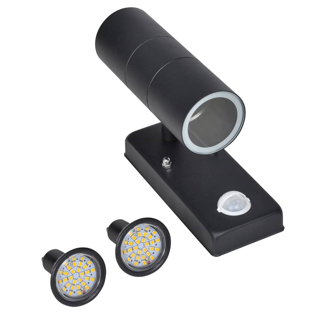 vidaXL Φωτιστικό τοίχου με LED από ανοξ. ατσάλι Κυλινδρικό Μαύρο