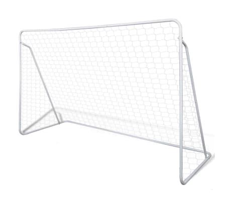 vidaXL Portería de fútbol con poste y red acero 240x90x150 cm[1/4]