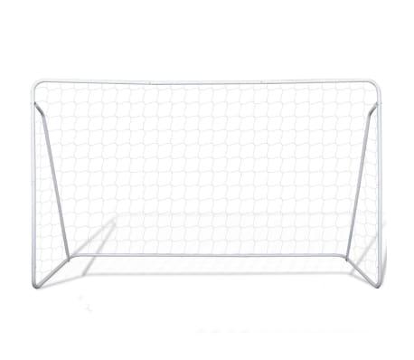 vidaXL Portería de fútbol con poste y red acero 240x90x150 cm[2/4]