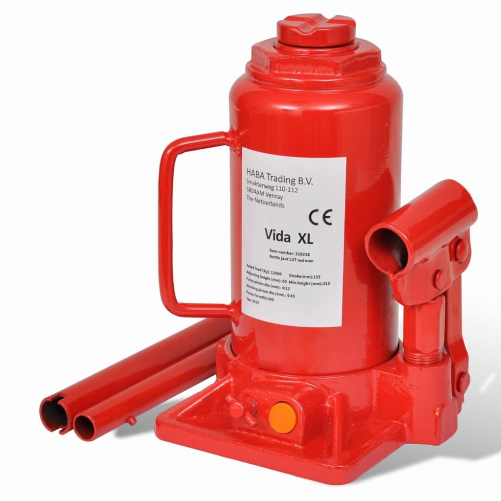 Cric hidraulic 12 tone pentru automobile Roșu vidaxl.ro