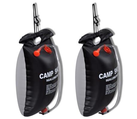 vidaXL Ducha solar portátil de camping 20 L 2 unidades[1/4]