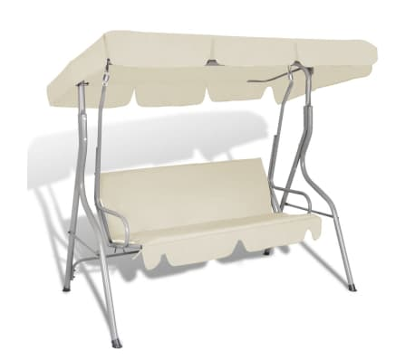 vidaXL Outdoor Hanging Swing Bench with a Canopy for 3 Persons Sand White