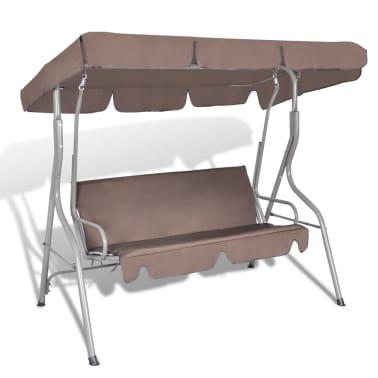 Hang schommelstoel met luifel voor buiten (koffie kleur) 3 personen[1/5]