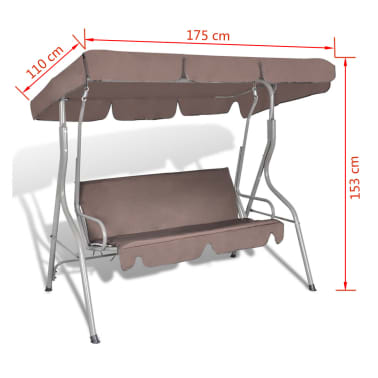 Hang schommelstoel met luifel voor buiten (koffie kleur) 3 personen[5/5]