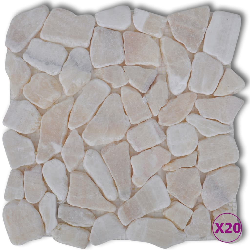Afbeelding van vidaXL Stenen mozaïek tegels goud marmer 1,8 m2