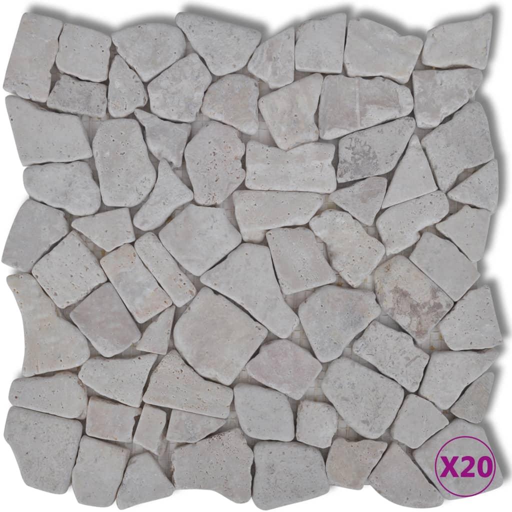 Afbeelding van vidaXL Stenen mozaïek tegels wit marmer 1,8 m2