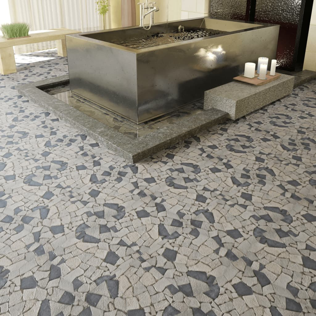 Dale de marmură mozaic1,8 mp, Alb/Negru vidaxl.ro