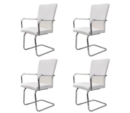Vidaxl eetkamerstoelen modern design kunstleer wit 4 st for Design eetkamerstoelen wit