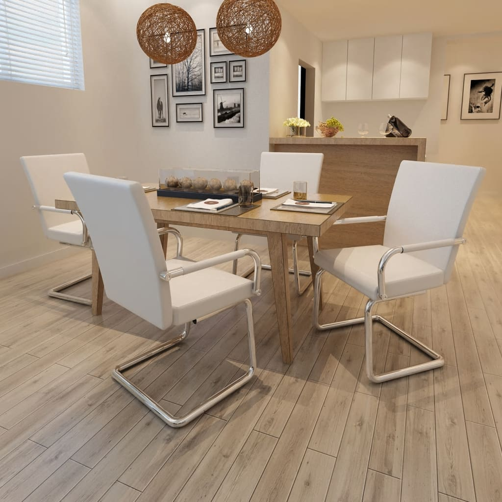vidaXL Dining Chairs 4 pcs White Modern Design Artificial Leather