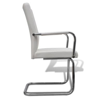 Vidaxl 6 pz sedie da pranzo in pelle artificiale bianca for Sedie pelle bianca