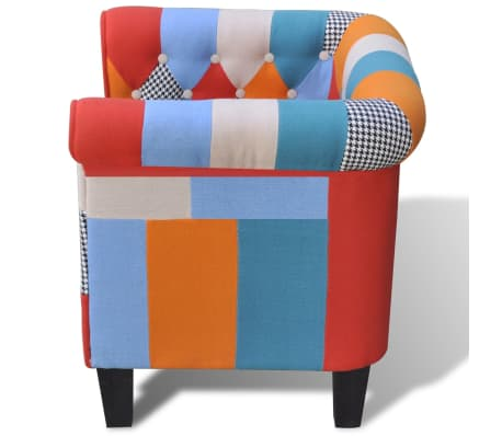 vidaXL Armchair with Patchwork Design Fabric[3/5]