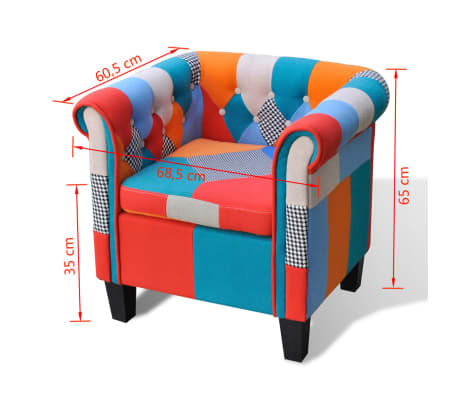 vidaXL Armchair with Patchwork Design Fabric[5/5]