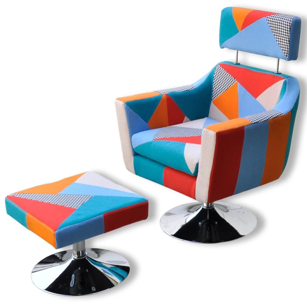 vidaXL Fotel TV, patchworkowy, tkanina